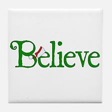 Believe with Santa Hat Tile Coaster