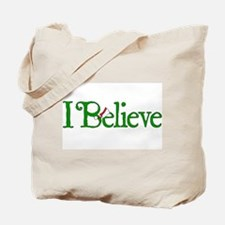 I Believe with Santa Hat Tote Bag