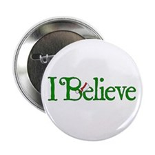 """I Believe with Santa Hat 2.25"""" Button (10 pack)"""