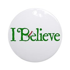 I Believe with Santa Hat Round Ornament