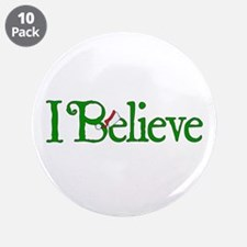 """I Believe with Santa Hat 3.5"""" Button (10 pack)"""