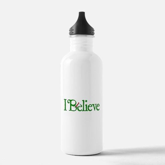 I Believe with Santa Hat Water Bottle