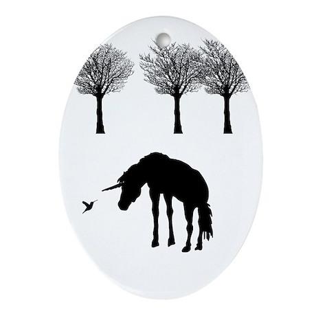 Unicorn and Hummingbird Ornament (Oval)