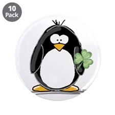 "Shamrock Penguin 3.5"" Button (10 pack)"