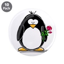 "Penguin with a Rose 3.5"" Button (10 pack)"