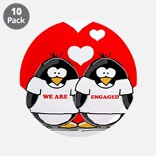 "We Are Engaged Penguins 3.5"" Button (10 pack)"