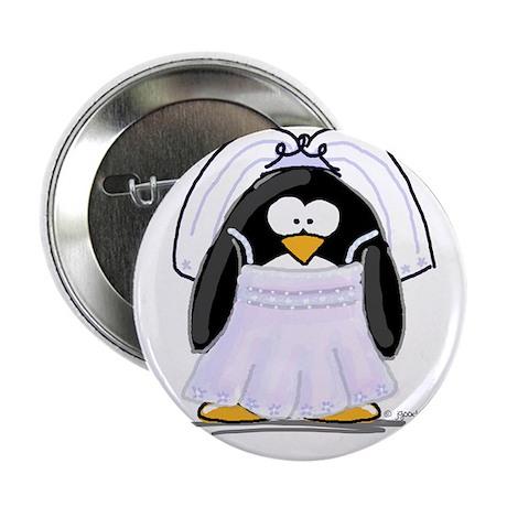 """Fancy Bride penguin 2.25"""" Button (100 pack)"""