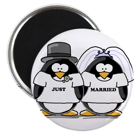 "Just Married Bride and Groom 2.25"" Magnet (10"