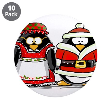 "Mr. and Mrs. Claus Penguins 3.5"" Button (10 p"
