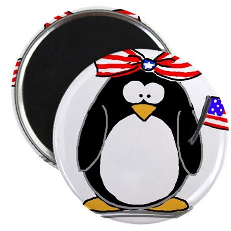 "Patriotic Girl penguin 2.25"" Magnet (10 pack)"