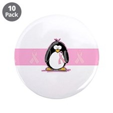 """Pink Ribbon Penguin 3.5"""" Button (10 pack)"""