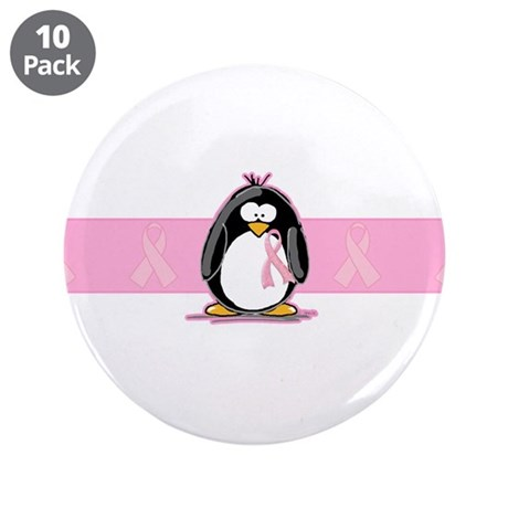 "Pink Ribbon Penguin 3.5"" Button (10 pack)"