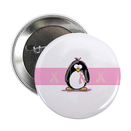 """Pink Ribbon Penguin 2.25"""" Button (100 pack)"""