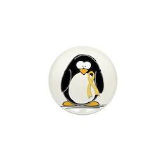 Yellow RIbbon penguin Mini Button (100 pack)