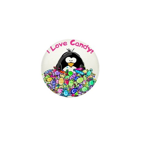 I Love Candy Penguin Mini Button (100 pack)