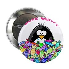 """I Love Candy Penguin 2.25"""" Button (100 pack)"""