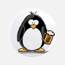 "Beer Drinking Penguin 3.5"" Button (100 pack)"