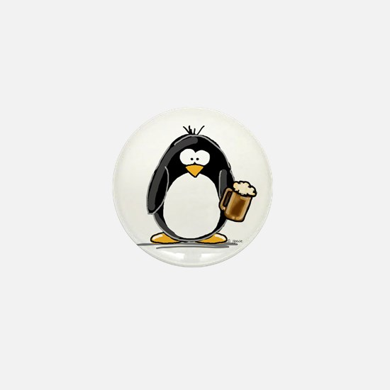 Beer Drinking Penguin Mini Button (10 pack)