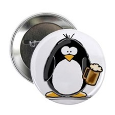 """Beer Drinking Penguin 2.25"""" Button (100 pack)"""
