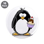 "Ice Cream Sundae Penguin 3.5"" Button (10 pack"