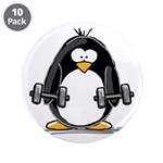 "Weight lifting penguin 2 3.5"" Button (10 pack"