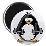 "Weight lifting penguin 2 2.25"" Magnet (10 pac"