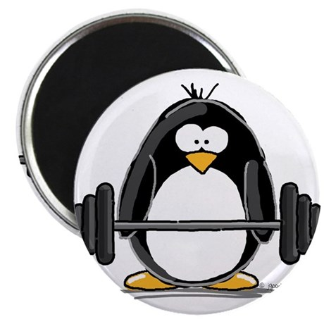 "Weight lifting penguin 2.25"" Magnet (100 pack)"