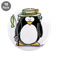 "Fishing penguin 3.5"" Button (10 pack)"