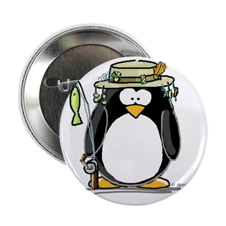 "Fishing penguin 2.25"" Button (100 pack)"