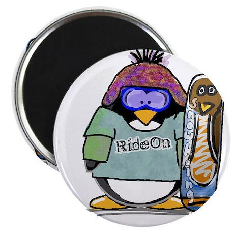 """SnowBoard Penguin 2.25"""" Magnet (10 pack)"""