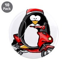 "Red Scooter Penguin 3.5"" Button (10 pack)"