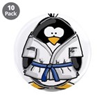 "Martial Arts blue belt pengui 3.5"" Button (10"