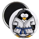 "Martial Arts blue belt pengui 2.25"" Magnet (1"