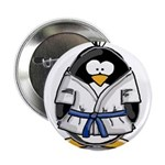 "Martial Arts blue belt pengui 2.25"" Button (1"