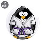 "Martial Arts purple belt peng 3.5"" Button (10"