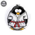 "Martial Arts red belt penguin 3.5"" Button (10"