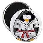 """Martial Arts red belt penguin 2.25"""" Magnet (1"""