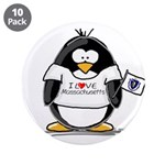 """Massachusetts Penguin 3.5"""" Button (10 pack)"""