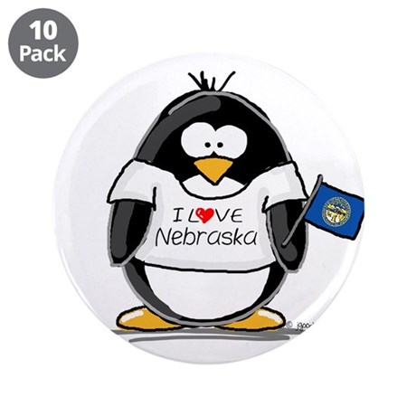 "Nebraska Penguin 3.5"" Button (10 pack)"