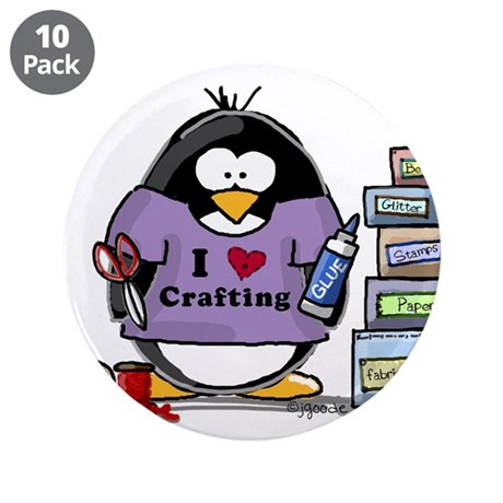 """I love crafting penguin 3.5"""" Button (10 pack)"""