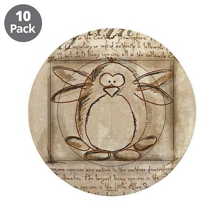 "Vitruvian Penguin 3.5"" Button (10 pack)"