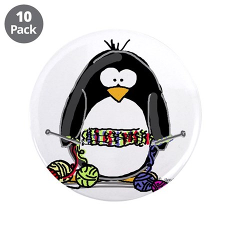 "Knitting Penguin 3.5"" Button (10 pack)"