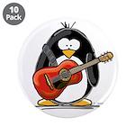 """Red Acoustic Guitar Penguin 3.5"""" Button (10 p"""