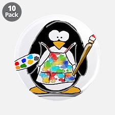 "Artist penguin 3.5"" Button (10 pack)"