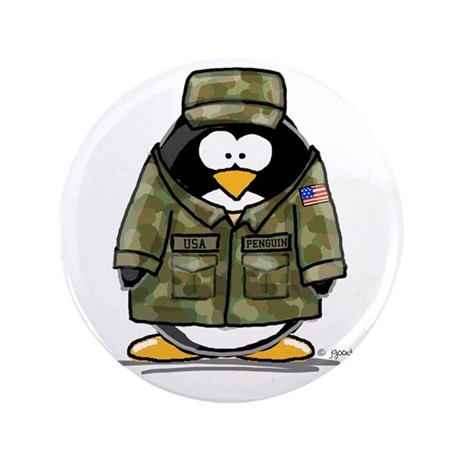 """US Military Penguin 3.5"""" Button (100 pack)"""