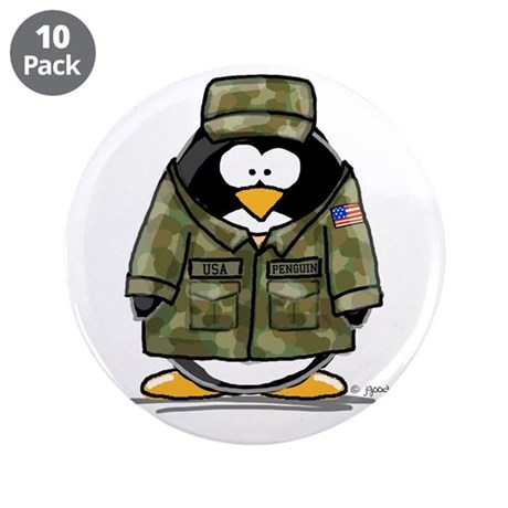 """US Military Penguin 3.5"""" Button (10 pack)"""
