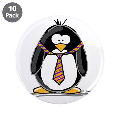 "Bad Tie penguin 3.5"" Button (10 pack)"