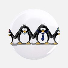 "Penguin family with two boys 3.5"" Button (100"