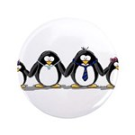 "Penguin family with 2 girls 3.5"" Button (100"