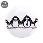 "Penguin family with 2 girls 3.5"" Button (10 p"